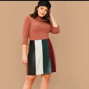 Plus Color Block PU Leather and Suede Skirt